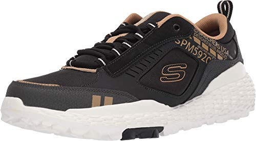 Skechers Monster, Scarpe da Ginnastica Uomo, Nero (Black Leather/Pu/Mesh/Trim Blk), 43 EU