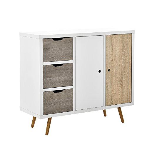 [en.casa]] Cómoda Moderna con 3 cajones y 2 Puertas Diseño Retro (100x39x86cm) Blanco y Roble