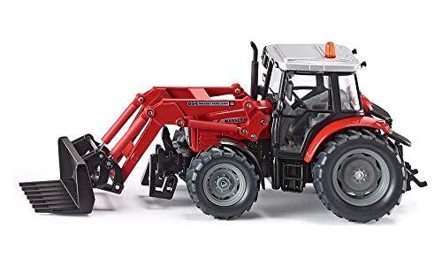 SIKU 3653, Massey Ferguson mit Frontladergabel, 1:32, Metall/Kunststoff, Rot, Lenkung per Rundumleuchte