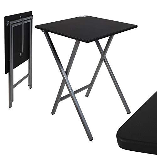 TIENDA EURASIA® Mesa Plegable Auxiliar Cuadrada - 48 x 48 x 65 cm (Negra)