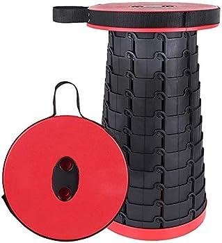 LANGYA Portable Tabouret Pliant, Tabouret télescopique pour Voyager Camping randonnée pêche Barbecue en Plein air, Red