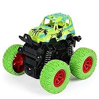 Lnrueg 傷のつきにくい安定した回転可能な現実的なプルバック車面白い丈夫なゴム耐衝撃性インタラクティブオフロード車のおもちゃ子供用