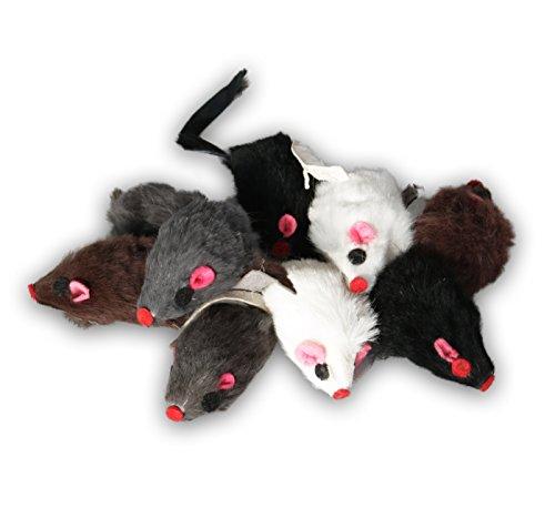 EBI Echtfell-Spielzeugmaus, ideale Beschäftigung für Katzen, Fellmäuse im Set, je 5 cm (9 St. mit Rassel)