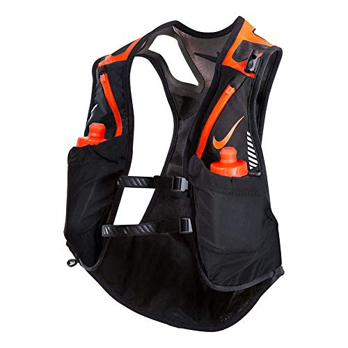Nike Trail Kiger Running Hydration Vest with 2 Bottles, Small, (Black/Total Crimson)