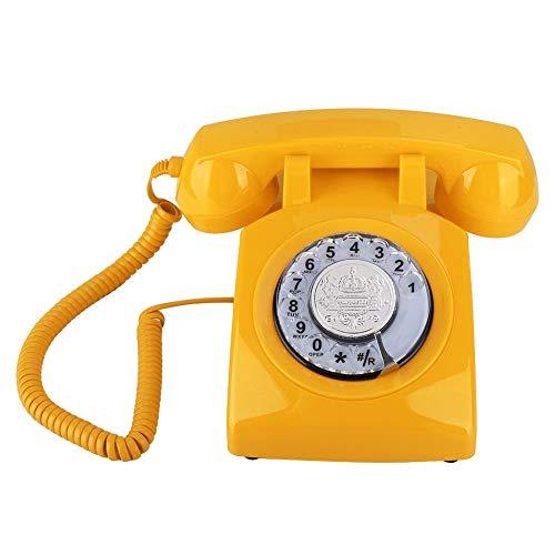 Beiwnner Retro Rotary Telephone, teléfono fijo vintage Teléfono con cable, teléfono de escritorio con cable para escritorio con perilla / volumen ajustable de campana (amarillo)