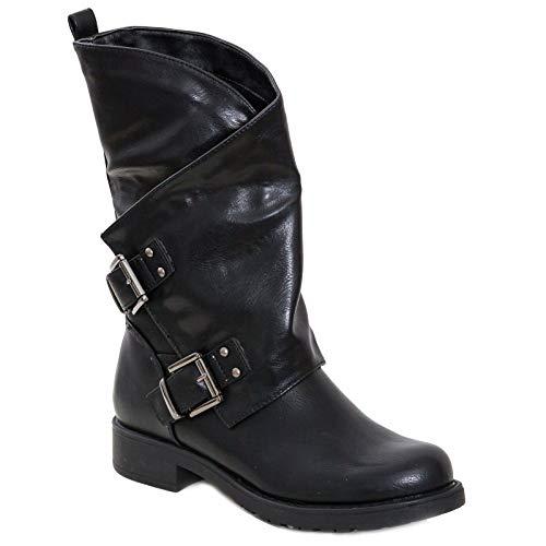 Toocool - Stivali Donna Bassi Biker Boots Motociclista Stivaletti Fibbie Anfibi SA9907 [37,Nero]