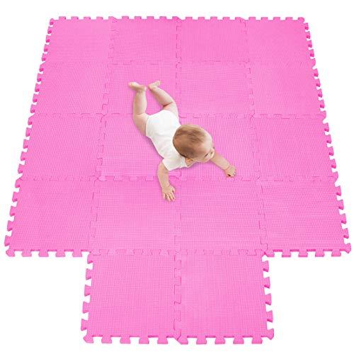 meiqicool Alfombra Puzzle Infantiles Suelo de Espuma EVA | Tapete de Juego | Alfombra Suave para Bebé | Alfombra Goma eva Bebe Manta Juegos Rosa 03