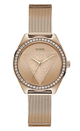 Guess Damen Analog Quarz Uhr mit Edelstahl Armband W1142L4