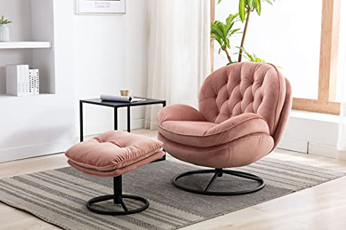 Baysitone Accent Chair with Ottoman,360 Degree Swivel Velvet Accent Chair, Lounge Armchair with Metal Base Frame for Living Room, Bedroom, Reading Room, Home Office (Pink)