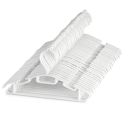 ilauke Kinderkleiderbügel Kleiderbügel Kinder Babykleiderbügel Baby 60Stk Länge 30cm Kunststoff Hangers Aufbewahrung für Kleiderschrank Schrank Kleidung in Weiß
