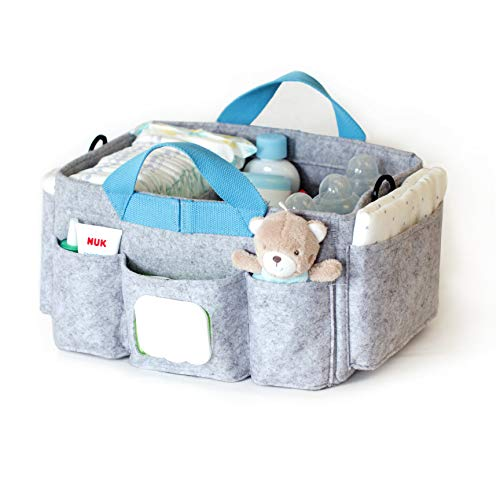 Lucky Sign Wickeltisch Organizer Aufbewahrungsbox Baby wickelkommode zubehör - Blau
