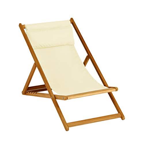 Weishaupl Cabin Deck Chair Basic ligstoel, natuur acryldoek inklapbaar BxDxH 62x119x113cm onbehandeld frame teakhout massief zonder nekkussen