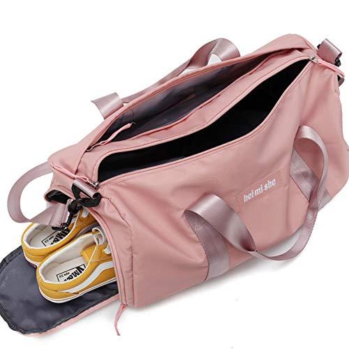 Jannyshop Sporttasche Reisetasche mit Schuhfach Fitness Tasche wasserdichte Rosa