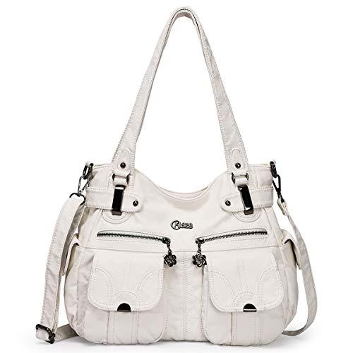 KL928 Tasche Damen Handtasche Umhängetaschen Damenhandtasche Schultertasche Lederhandtasche elegante Taschen hand taschen Henkeltaschen für frauen mit vielen fächern (White)
