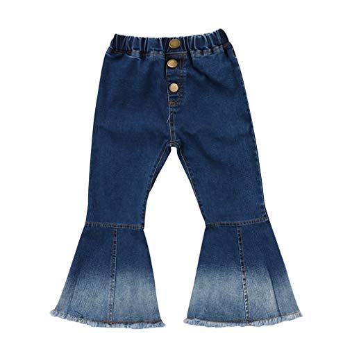 Specialcal Toddler Little Kid Girls Denim Jeans Bell Bottom Flare Pants Leggings Trousers (6-7Y, Blue)