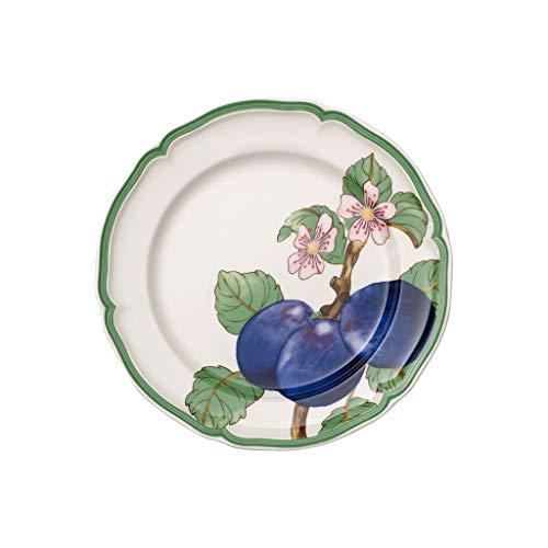 Villeroy & Boch French Garden Modern Fruits Plato llano 'Ciruela', 26 cm, Porcelana Premium, Blanco/Multicolor