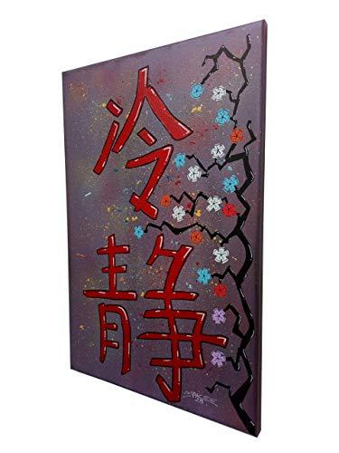 Tableau Art-Déco Signe Chinois'SAGESSE' - Peinture 60x40 - PK29
