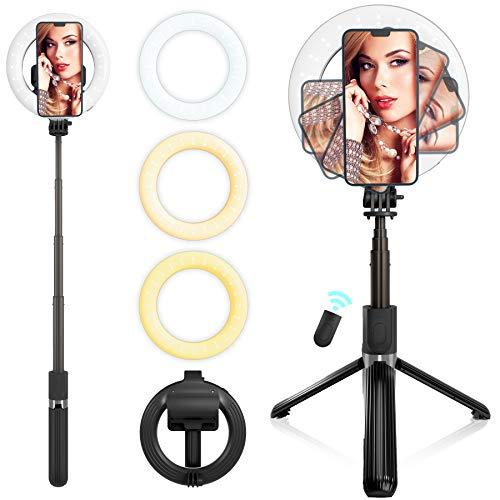 JRCMDS Selfie Stick 6 Zoll LED, mit Stativringlicht, tragbarer Bluetooth Selfie Stick mit Fernbedienung, geeignet für Fotoaufnahmen, Make-up, YouTube, TikTok Live-Übertragung