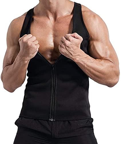 Męska bluza z neoprenu, trener treningowy Top Tank Loss Body Shaper Zipper (Size : Small)
