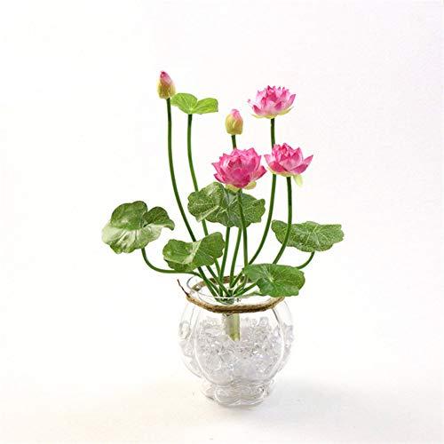HYLZW Kunstbloem potplant 46 cm simulatie kleine lotusbloemen namaakbloemen Pu Seerose DIY home bruiloft tuintafel decor lotusplant bloemen cadeau