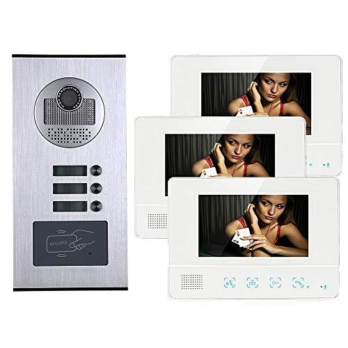 XINTONGSPP Timbre, 7 Pulgadas 3 Apartamento/Familia Video Portátil Teléfono Intercomunicador Cámara de Timbre de cámara HD 1000TVL con 3 Botón 3 Monitor
