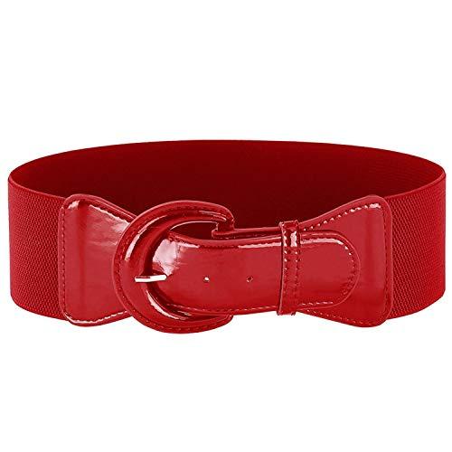 Riem Vrouwen PU Lederen Effen Zwart Rood Brede Elastische Taille Riem Tailleband voor Vrouw Dress-2RedBeltsWomens-Large