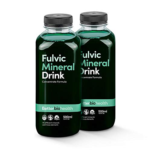 BetterBio Health Fulvic Mineral Concentrate 500ml, 32 Servings, Better Absorption, Fast Acting Colloidal Mineral Liquid Formula, 70+ Minerals (Double Pack)