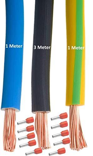 MicroParts Verdrahtungssatz Verdrahtungs-Set für Zählerplatz 10mm² 3/1/1 (blau - schwarz - grün gelb) + 10 Aderendhülsen