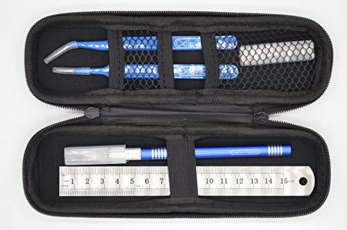 Odin Tools® Modellbau-Werkzeug mit Tasche,Bastelmesser/Skalpell mit Schutzkappe und Ersatzklingen, Stahllineal und Pinzetten für Einsteiger