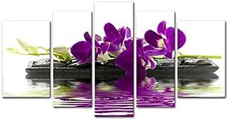 So Crazy Art -Orquidea Cuadros en Lienzo Flores en Piedra en el Agua Decoracion de Pared 5 Piezas Modernos Naturaleza Paisaje Mural Fotos para Salon,Dormitorio,Baño,Comedor
