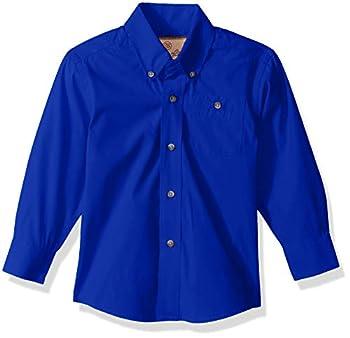 Wrangler Boys  Big Classic One Pocket Long Sleeve Button Shirt Royal Blue Large