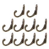 WXL Hogar y Cocina Escudo suspensiones de la Pared 10PCS Doble Bronce de la Vendimia Montada Puerta de Entrada Ganchos con Tornillos Ganchos