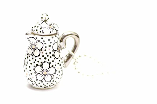 Miniblings Kaffeekanne Teekanne Kette Tee Kaffee 80cm Kanne Porzellan Punkte - Handmade Modeschmuck - Kugelkette versilbert