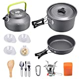 G4Free Camping Cookware Mess Kit, Lightweight Pot Pan Kettle Fork Knife Spoon Kit for Backpacking, Outdoor...