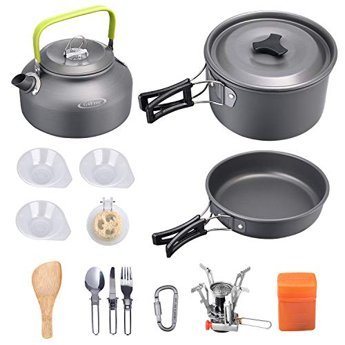 G4Free 13/15 PCS Camping Cookware Mess Kit Campfire Kettle Outdoor Hiking Backpacking Picnic Cooking Pot Pan Bowl, Mini Stove, Stainless Steel Cup, Knife Spoon Set (15PCS Grey)