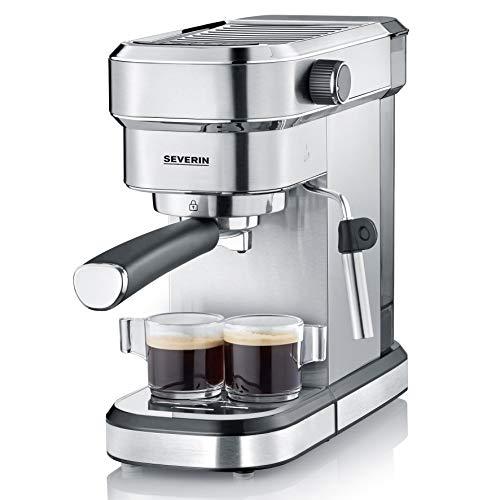Severin Espresa KA 5994 espressomachine (ca. 1350 W, massieve en professionele zeefdrager (gewicht ca. 450 g), instelbare temperatuur en de inhoud van de kopjes.