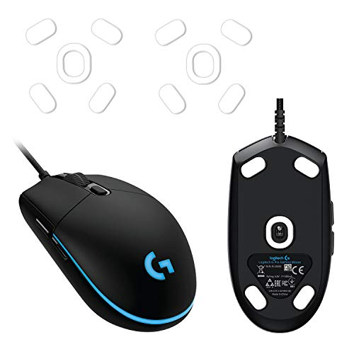2 Sets of Hyperslides Rounded Curved Edges Mouse Feet, Skates, Pads for Logitech G Pro, G102, G203 Gaming Mouse Feet Replacement (0.8mm, Smooth Glide, Durable, Pure White PTFE) Pro Performance Upgrade