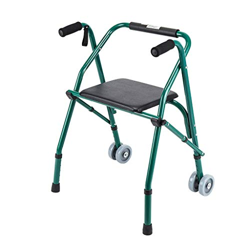 LHQ-HQ Folding Walker with Seat Plate for The Elderly Four Feet Crutches Rehabilitation Walker Rollator - 61 * 28 * 91cm Non-Slip Walking Stick with Hospital