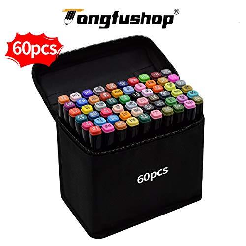 Tongfushop 60 Farbige Graffiti Stift Fettige Mark Farben Marker Set,Twin Tip Textmarker Graffiti Pens für Sketch Marker Stifte Set Mit (Deutsche Lieferung) (60 Schwarz)