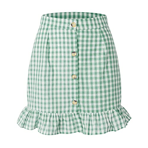 WZXHNYYZYQ Summer Women's Plaid Ruffle Short Skirt High Waist Single-Breasted Plaid Skirt Green
