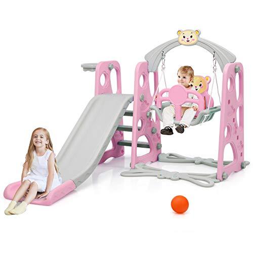 Goplus 3 in 1 Scivolo per Bambini con Altalena e Canestro da Basket, Set di Scivolo per Bambini da 3 a 6 Anni, Scivolo da Casa con Motivo d'Orso, Rosa
