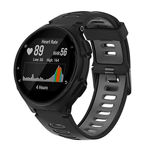 ANBEST Sportarmband für Garmin Forerunner 235/735XT/220/230/620/630 Smart Watch Silikon Ersatz Uhrenarmband für Approach S20/S5/S6 Ersatzarmband(Schwarz/Grau)