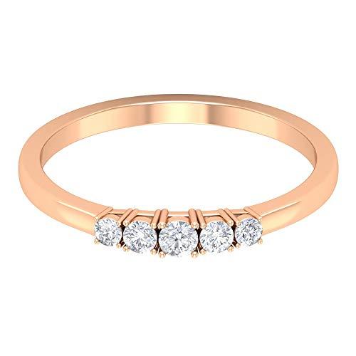 Anillo de boda delicado, anillo de 5 piedras, anillo de diamante de forma redonda HI-SI 1/4 CT, anillo de novia minimalista, anillo de cinco diamantes, 18K Oro rosa, Size:EU 51