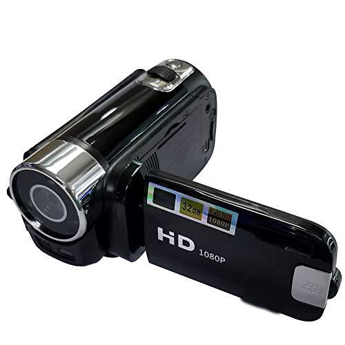 HLKJ Tragbare Videokamera, Ultra HD 1080P Camcorder-Videokamera 16-Facher Digitalzoom Weitwinkelobjektiv 270 ° Drehbarer Flip 2,7-Zoll-Bildschirm Mit 32-GB-Speicherkarte Für Das Mikrofon,Schwarz