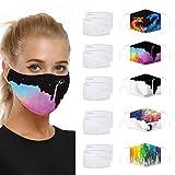 Eaylis 5 Stück Mundschutz 3D Druck Multifunktionstuch Maske Print Atmungsaktive Baumwolle Stoffmaske Waschbar Mund-Nasenschutz Bandana Halstuch Mit 10 Filters für Herren Damen
