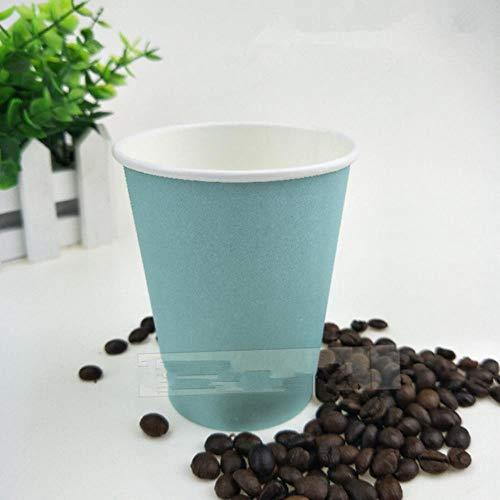 POMU 50 stks pure blauwe wegwerpbekers enkele laag dikker papier melk thee koude warme drank sap met deksel