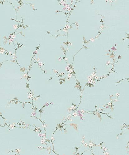 Carta da parati vintage base azzurro polvere e fiori bianco glicine. Fiori Country 7515