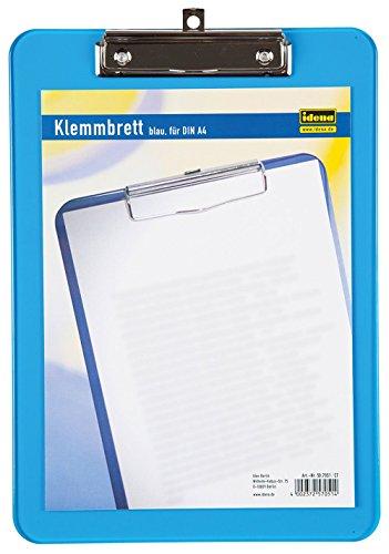 Idena 507051 - Klemmbrett für DIN A4 vernickelte Klemmmechanik, transluzent, blau