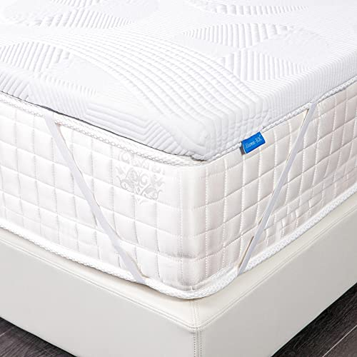 Home-KK Gel-Infused Memory Foam Mattress Topper Single Size with Elastic Straps,Bamboo Cover,Non-Slip Design Bed Topper for Sleep Cooler and Pressure-relievin(90x190x5 cm)