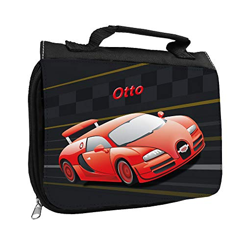 Kulturbeutel mit Namen Otto und Racing-Motiv mit rotem Auto für Jungen | Kulturtasche mit Vornamen | Waschtasche für Kinder